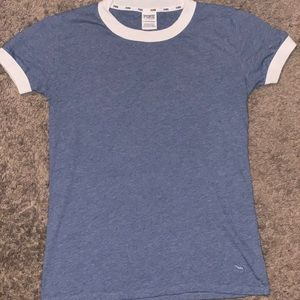 PINK Victoria Secret Blue and White Top